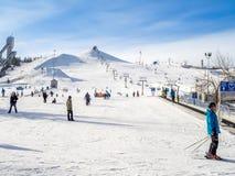 滑雪在加拿大奥林匹克公园 库存图片