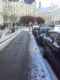 雪在城市 库存图片