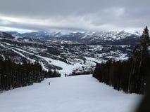 滑雪在大天空,蒙大拿 库存照片