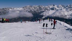 滑雪在意大利 库存照片