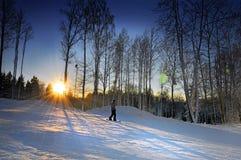 滑雪在日落 免版税库存图片