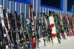 滑雪在瑞士阿尔卑斯, La Tzoumaz 库存照片