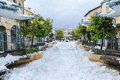 雪在耶路撒冷 免版税库存照片