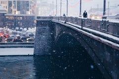 雪在莫斯科 免版税图库摄影