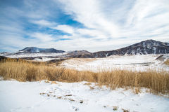 雪在阿苏山 免版税库存照片