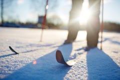 滑雪在随风飘飞的雪 免版税库存照片