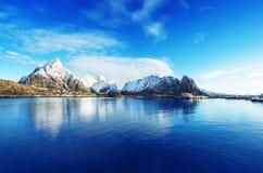 雪在雷讷村庄, Lofoten海岛,挪威 免版税库存图片