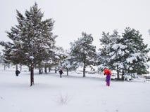 雪在马德里,西班牙 库存图片