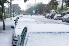 雪在以色列。2013年. 图库摄影