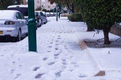 雪在以色列。2013年. 库存图片