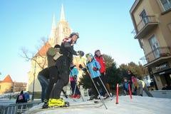 滑雪在Bakaceva的孩子 免版税图库摄影