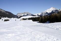 雪在Glieres的风景和滑雪足迹,开胃菜,法国 免版税库存照片