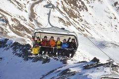 滑雪在Ischgl 2013年12月 库存图片