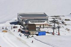 滑雪在Molltaler冰川,克恩顿州,奥地利 免版税库存图片