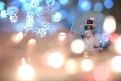 雪地球圣诞节狗,中国动物黄道带 2018年是肯定 免版税库存图片