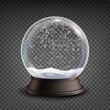 雪地球现实传染媒介 Realisitc 3d雪地球玩具 冬天Xmas设计元素 隔绝在透明背景 皇族释放例证
