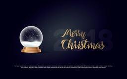 雪地球球新年在黑暗隔绝的圣诞节对象 库存例证