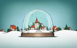 雪地球的村庄与村庄风景在背景中 库存照片