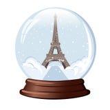 雪地球艾菲尔铁塔 库存照片
