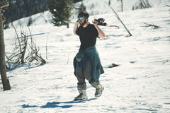 滑雪场地外的挡雪板 免版税库存照片