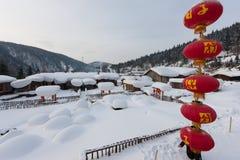 雪城镇 库存照片