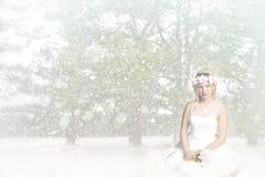 雪女孩公主-坐在雪的-花卉顶头花圈 免版税库存照片