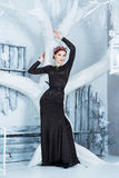 雪女王/王后, 12月 长的礼服的端庄的妇女 冬天 图库摄影