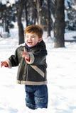 雪小孩 库存照片