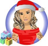 雪少女在有礼物传染媒介的EPS10红色帽子 库存照片
