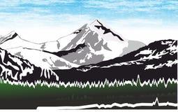 雪山山脉,密林流动概念和网apps的风景象 免版税库存照片