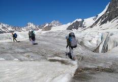 雪山的登山家在冰川 图库摄影