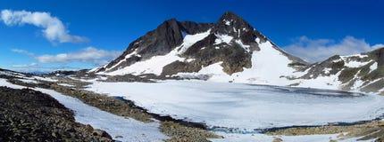 雪山顶、落矶山脉峰顶和冰川在挪威 库存图片