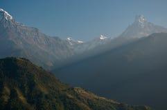 雪山风景全景视图 免版税库存图片