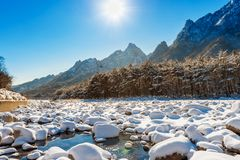 雪岳山国家公园在冬天,韩国 免版税库存照片