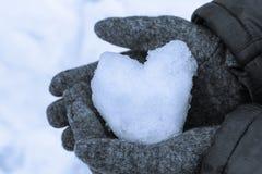 雪心脏在他的手上。 免版税库存图片