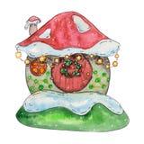 雪房子,一个逗人喜爱的房子的水彩例证 皇族释放例证