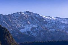 雪拂去灰尘的山峰和森林 库存照片