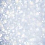 雪摘要-闪烁的不可思议的光和星Sparcles 库存图片