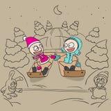 雪撬的恋人女孩和男孩 免版税库存图片