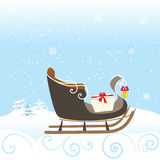 雪撬雪冬天响铃可爱的孩子特别Christimas传染媒介例证 库存图片
