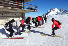 滑雪教训 免版税库存图片