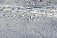 雪是滑雪轨道 有人的脚的有些踪影 没人 晴朗明亮的日 库存图片