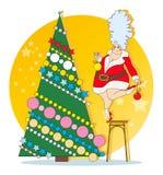 雪未婚是装饰的圣诞树 免版税库存照片