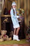 雪未婚装饰壁炉 库存图片
