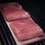 雪松板条三文鱼 免版税库存照片