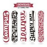 雪板的字法印刷品 免版税库存图片