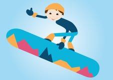 雪板的男孩 免版税库存图片