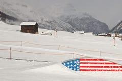 雪板美国风格slopestyle的区域- 免版税图库摄影