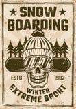 雪板运动与挡雪板头骨的葡萄酒海报 库存例证