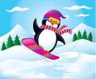 雪板运动企鹅在天空中 库存图片